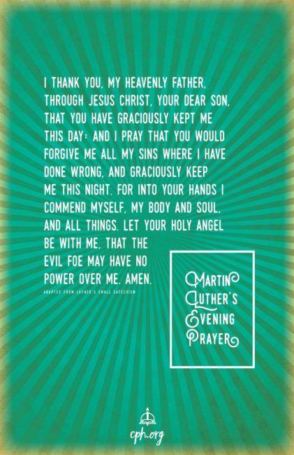 Luthers Evening Prayer Poster Prayer Evening Prayer Martin