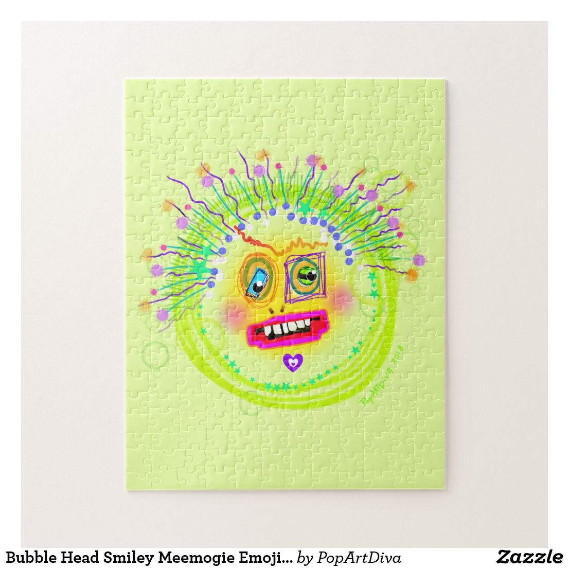 Bubble Smile Meemogie Emoji Art Jigsaw Puzzle
