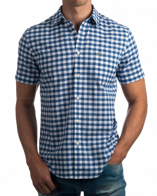 b232496c9ee Camisas Lacoste manga corta - cuadros Azul   Blanco