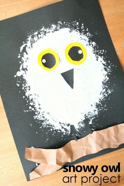 Snowy owl art project-Arctic animal preschool winter activity #kidart #arcticanimals #preschool