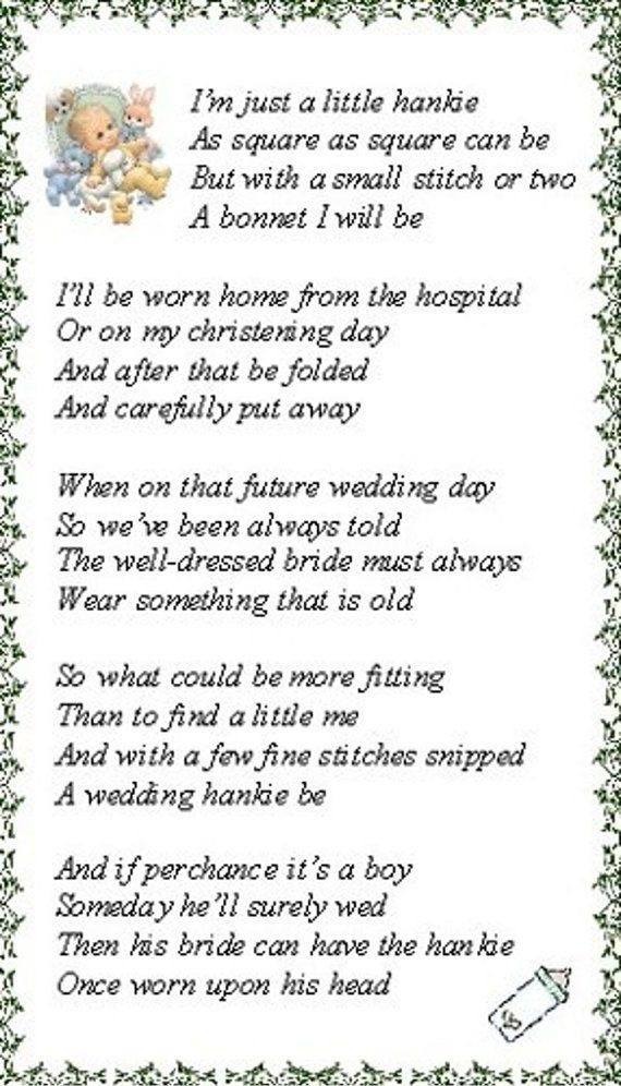 Poem About Christening Handkerchief Google Search Gift