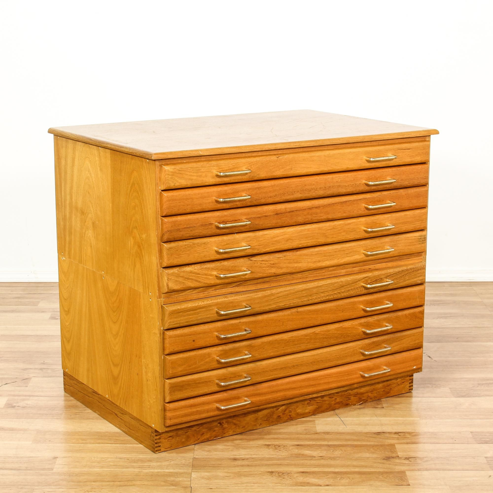 This Flat File Cabinet Is Featured In A Solid Wood With A Glossy Light Maple Finish This Blueprint And Map Filing Cabinet Has 10 Skinny Dra Flat File Cabinet Filing Cabinet