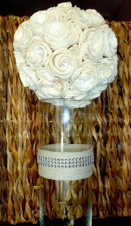 Crystal And Twine Vase- Wedding Centerpiece, Shabby Chic -6904