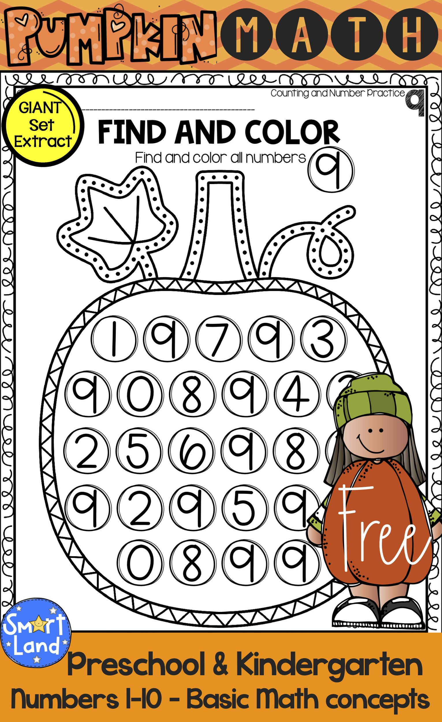 Free Pumpkin Math Set Numbers 1 10