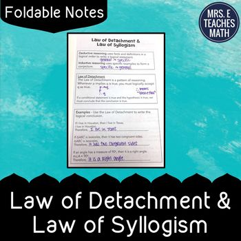 Laws Of Detachment And Syllogism Foldable Notes Future Kids And