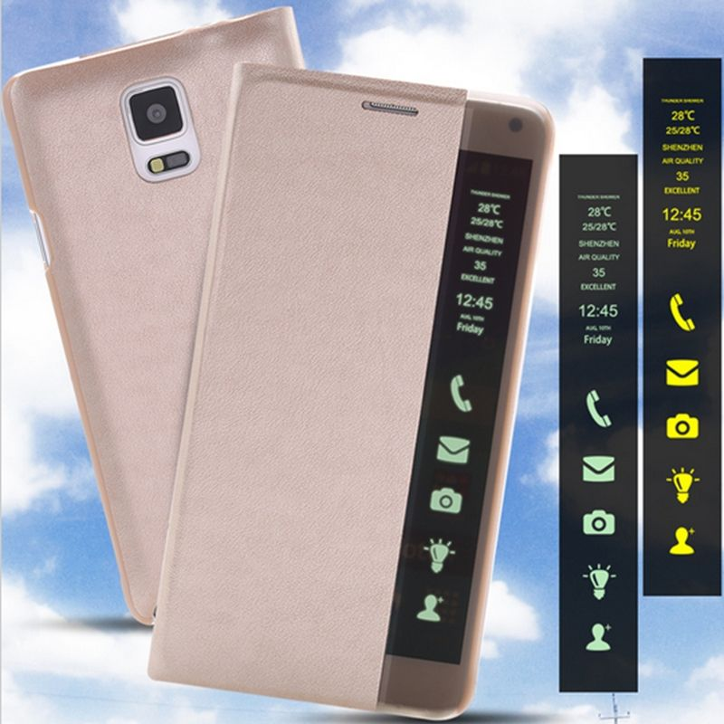 new arrival 3f645 c54d9 Note 4 Modern Case Auto Sleep Wake LED Light Smart Touch Case For ...