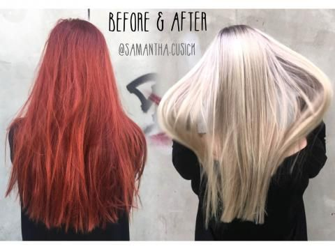 Transformation Gorgeous Red To Gorgeous Blonde Color Correction Hair Hair Color Remover Red Blonde Hair