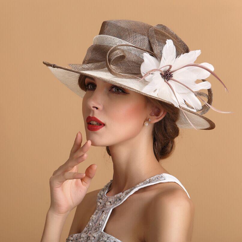 2016 Women's Kentucky Derby Church Wedding Noble Dress Hat Organza Feather Hat | eBay