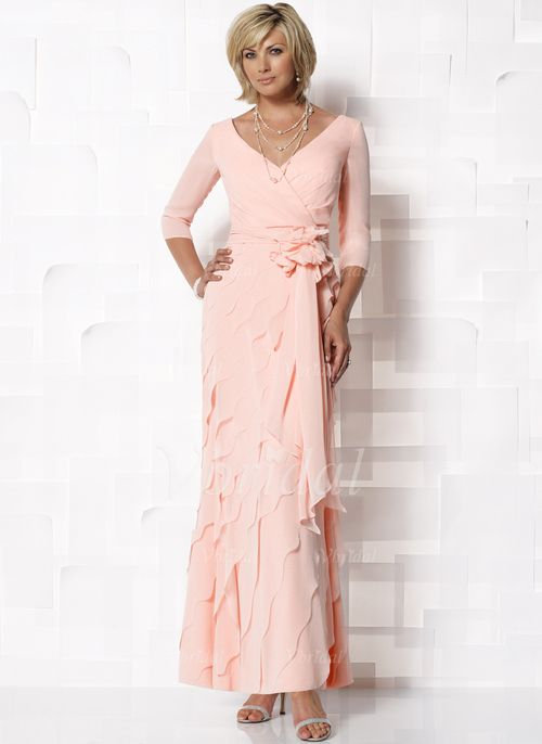 Sheath/Column V-neck Ankle-Length Chiffon Mother of the Bride Dress ...