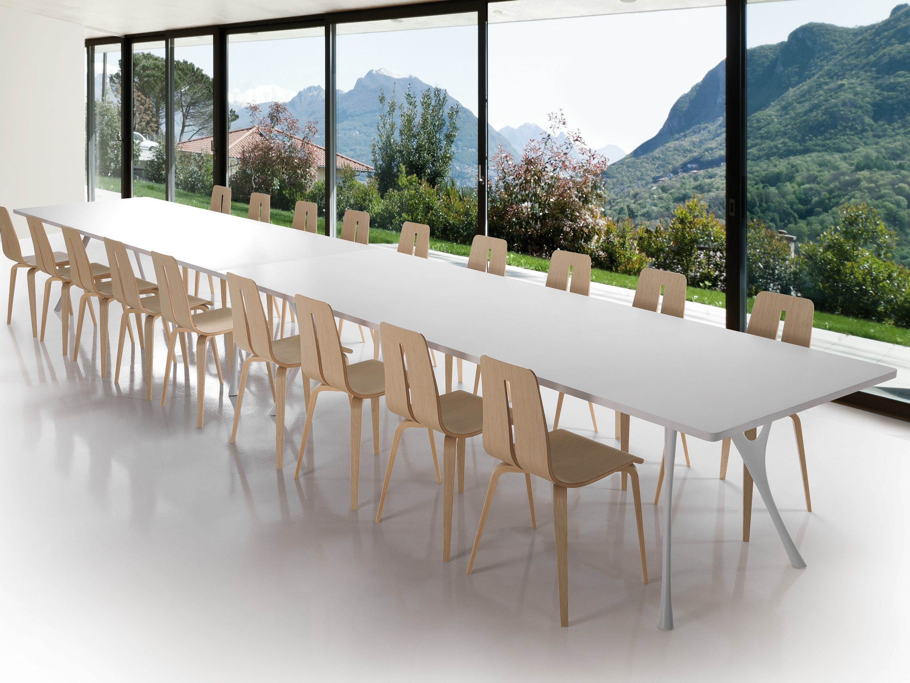 Rectangular table PEGASO SOLID by Caimi Brevetti design Alessandro Angelotti, Letterio Gianni Cardile