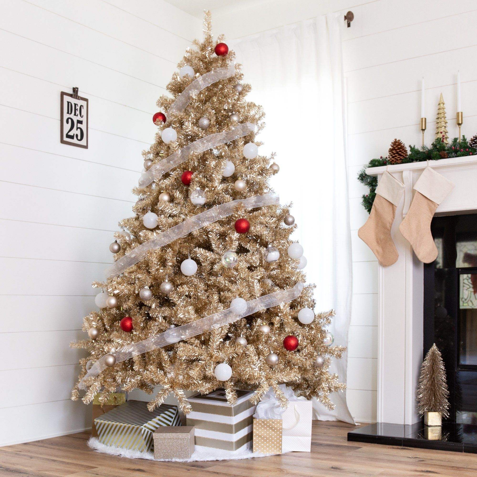 Best Choice Products 7 5ft Artificial Tinsel Christmas Tree W 1 749 Branch Tips Champagne Gold Walmart Com Tinsel Christmas Tree Gold Christmas Tree Colorful Christmas Tree