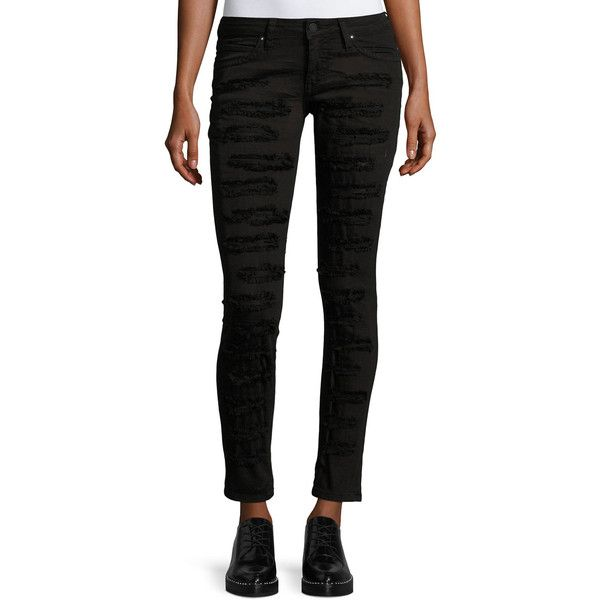 Robin's Jeans Marilyn Distressed Skinny Jeans ($249) ❤ liked on Polyvore featuring jeans, black, destructed jeans, distressed cropped jeans, cropped jeans, low rise skinny jeans and low rise jeans