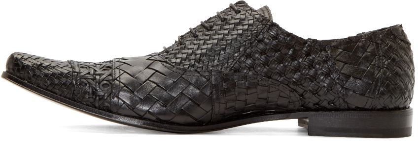 Haider Ackermann: Black Woven Leather Oxfords   SSENSE