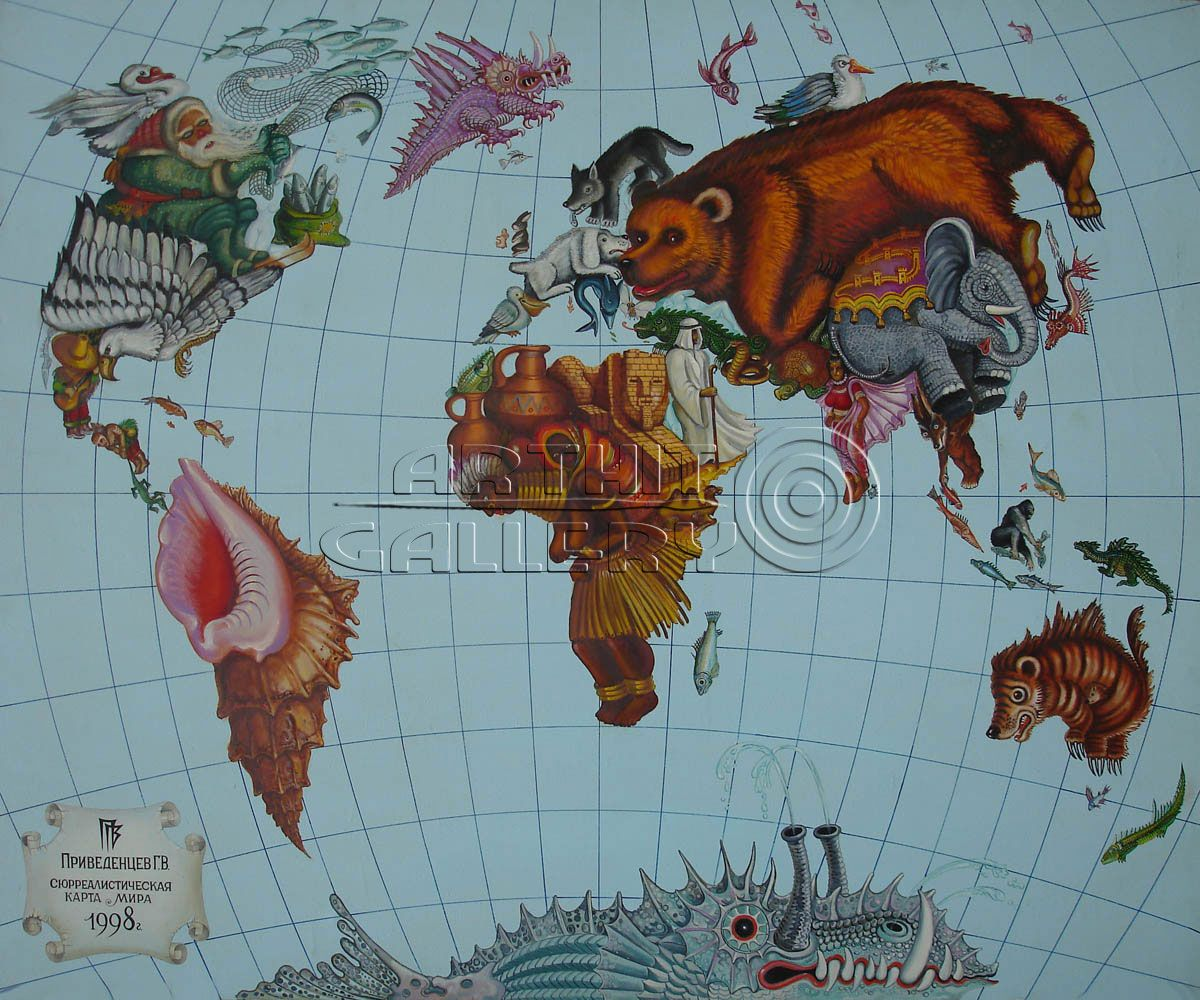 Surreal world map gennady privedentsev virtual gallery surreal world map gennady privedentsev gumiabroncs Image collections