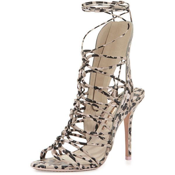 Sophia Webster Lacey Lace-Up Gladiator Sandal ($740) ❤ liked on Polyvore featuring shoes, sandals, heels, nude, caged sandals, nude sandals, ankle cuff sandals, nude shoes and lace-up sandals