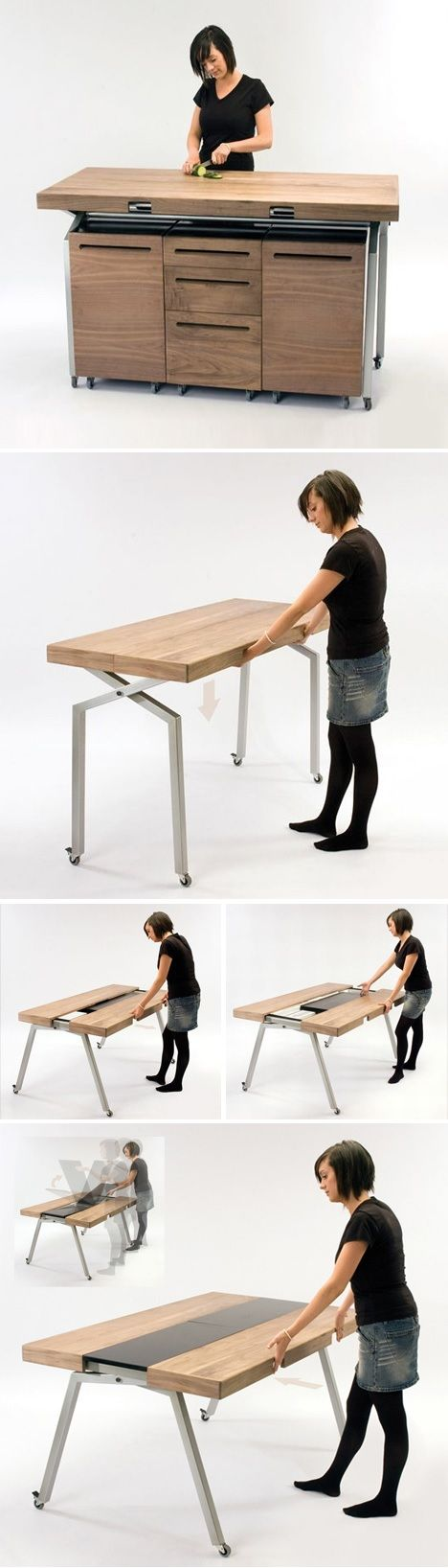 Comptoir de travail qui se transforme en table diner for Meuble qui se transforme