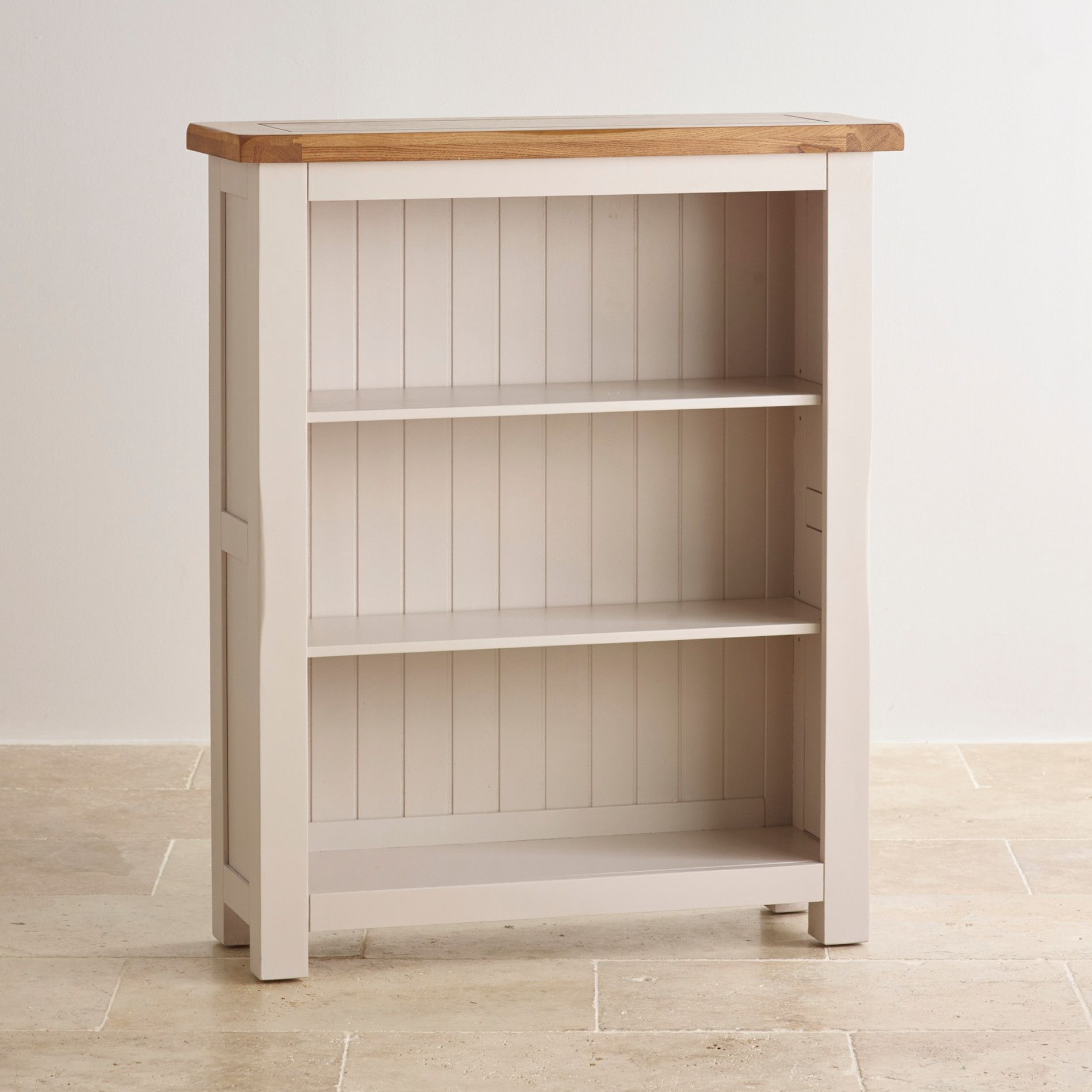 H4home Oak Small Bookcase With 3 Shelves Solid Wood Rustic