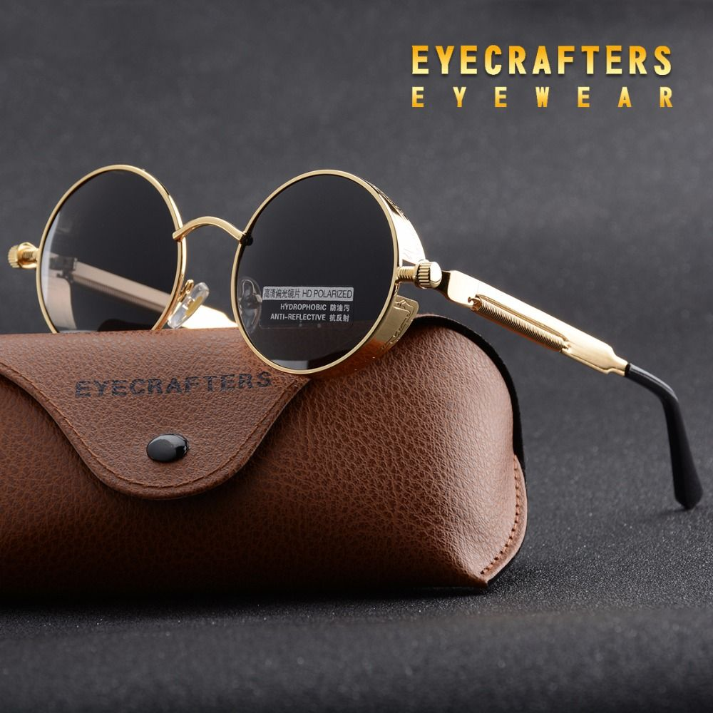 Gold Metall Polarisierte Sonnenbrille Gothic Steampunk Sonnenbrille ...