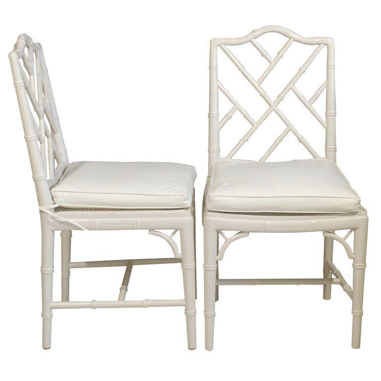 Elegant Bamboo Trellis U0026 Cane Dining Side Chairs