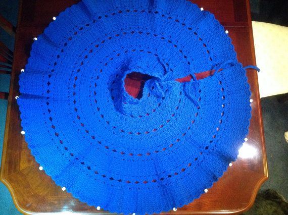 Royal Blue Christmas Tree Skirt by KobesCountryCornerGi on Etsy