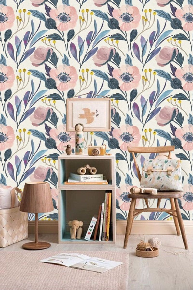 Blue Floral Wallpaper Wall Mural Removable Wallpaper Pink Etsy Blue Floral Wallpaper Wall Wallpaper Floral Wallpaper
