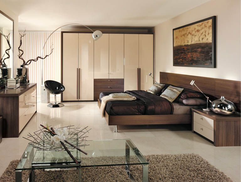 Contemporary Bedroom With Modern High Gloss Cream Wardrobes And  Eye Catching Furnishings. Part 69