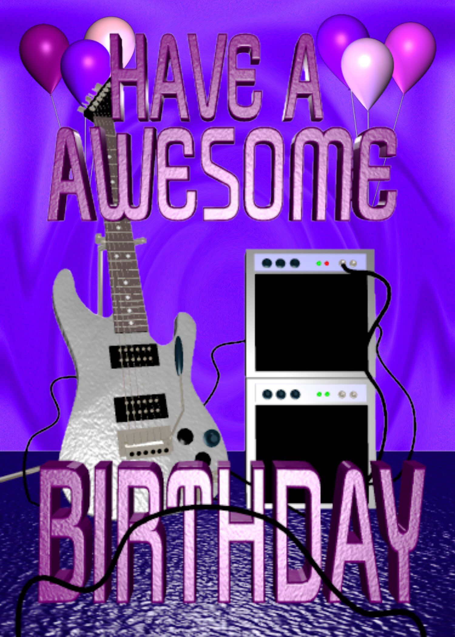 Have A Awesome Guitar Birthday Greeting 5x7 Card Envelope