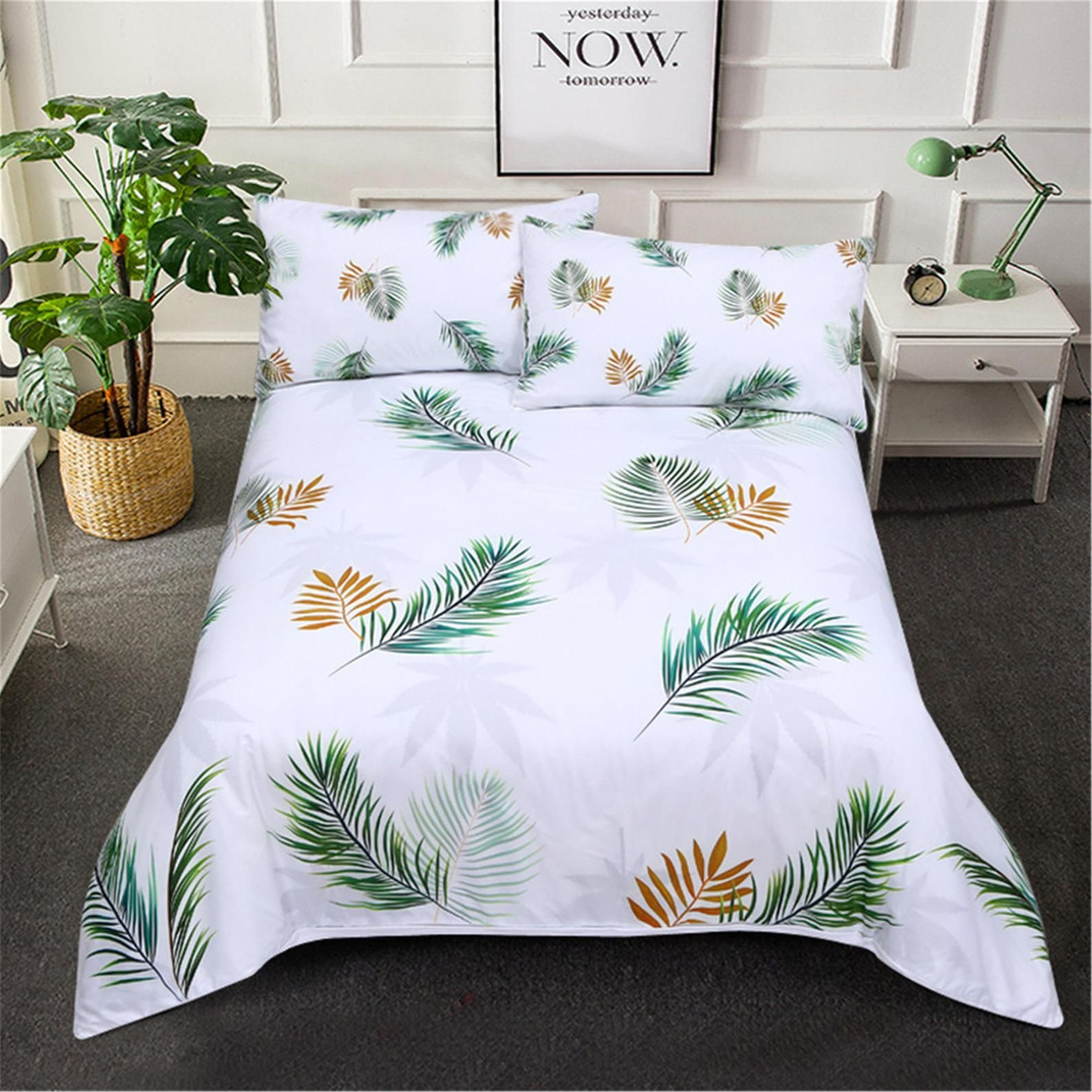 Botanical 3D Printed Duvet Cover Set, Blue and Yellow
