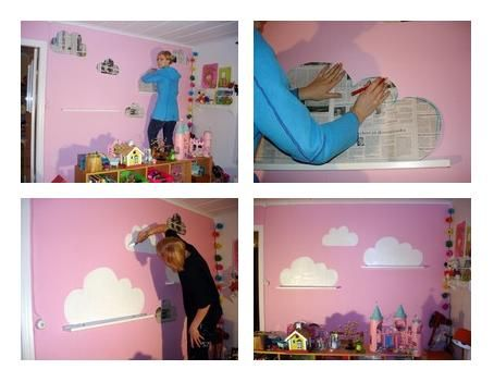 Baby deco diy pintar nubes en la pared sobre unas baldas - Paredes infantiles pintadas ...