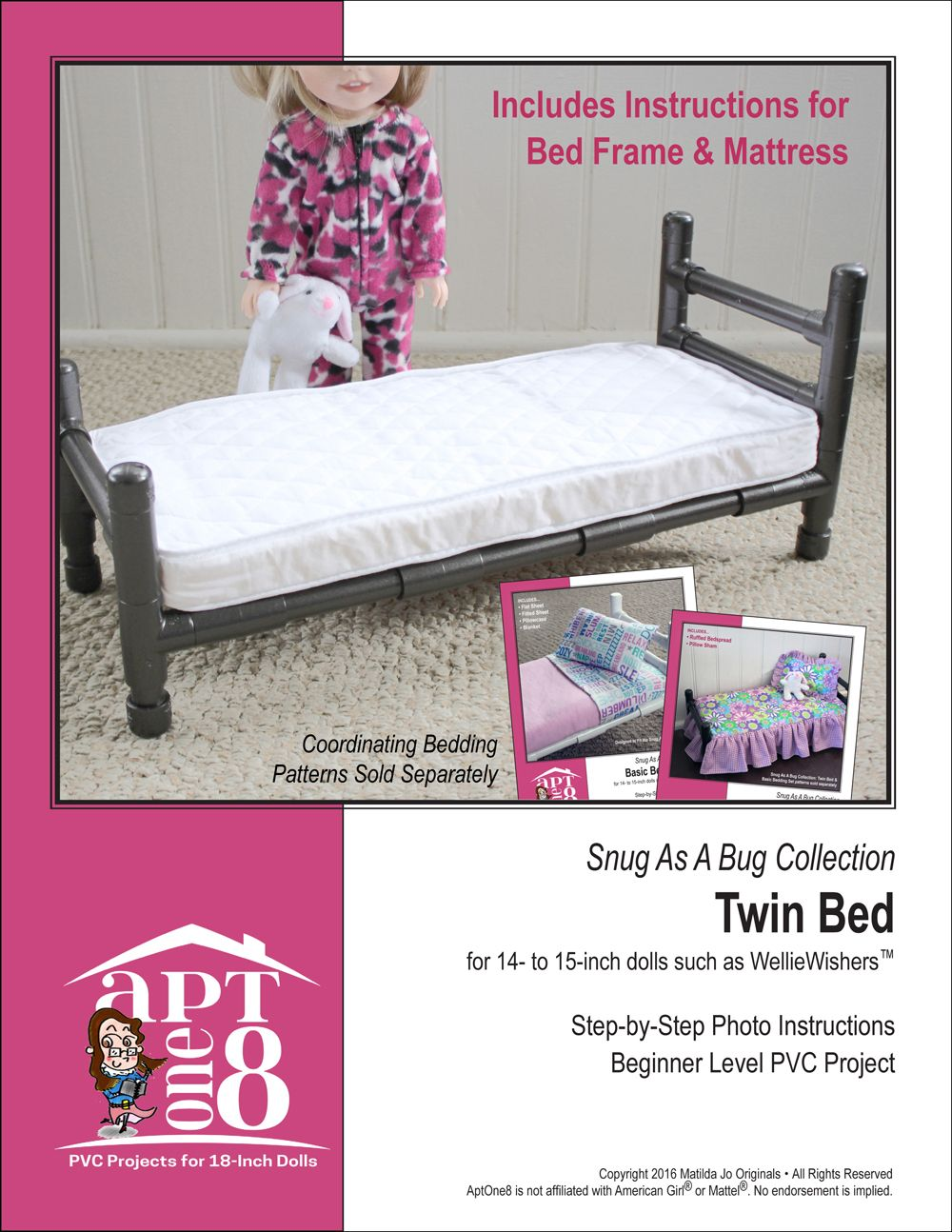 Snug As A Bug Collection Twin Bed Pvc Pattern For 14 To 15 Inch Dolls Such Welliewishers