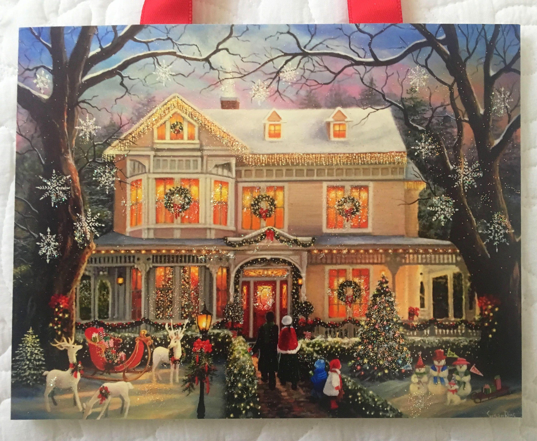 Christmas Art Print, Victorian Christmas House, Christmas