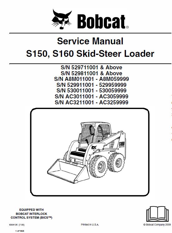 Bobcat S150 And S160 Skid Steer Loader Service Manual Repair Manuals Skid Steer Loader Bobcat