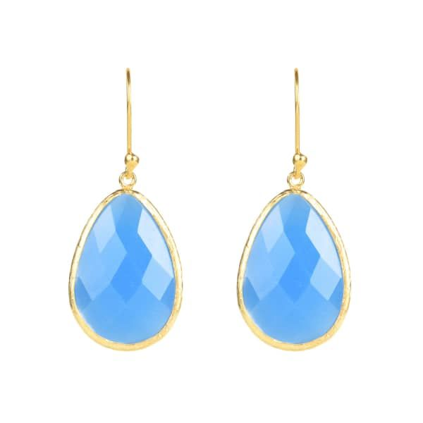 Latelita London Gold Single Drop Earring Dark Blue Chalcedony 3QMt3g3qA8