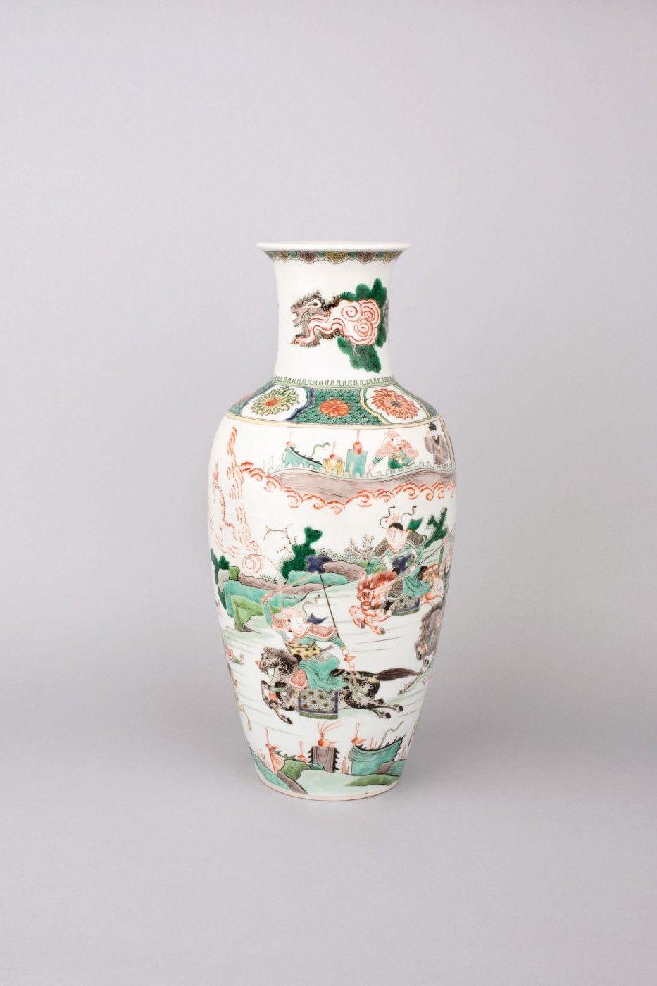 Large chinese porcelain famille verte wucai baluster vase and chinese porcelain famille verte wucai ovoid baluster vase kangxi period circa 1700 reviewsmspy