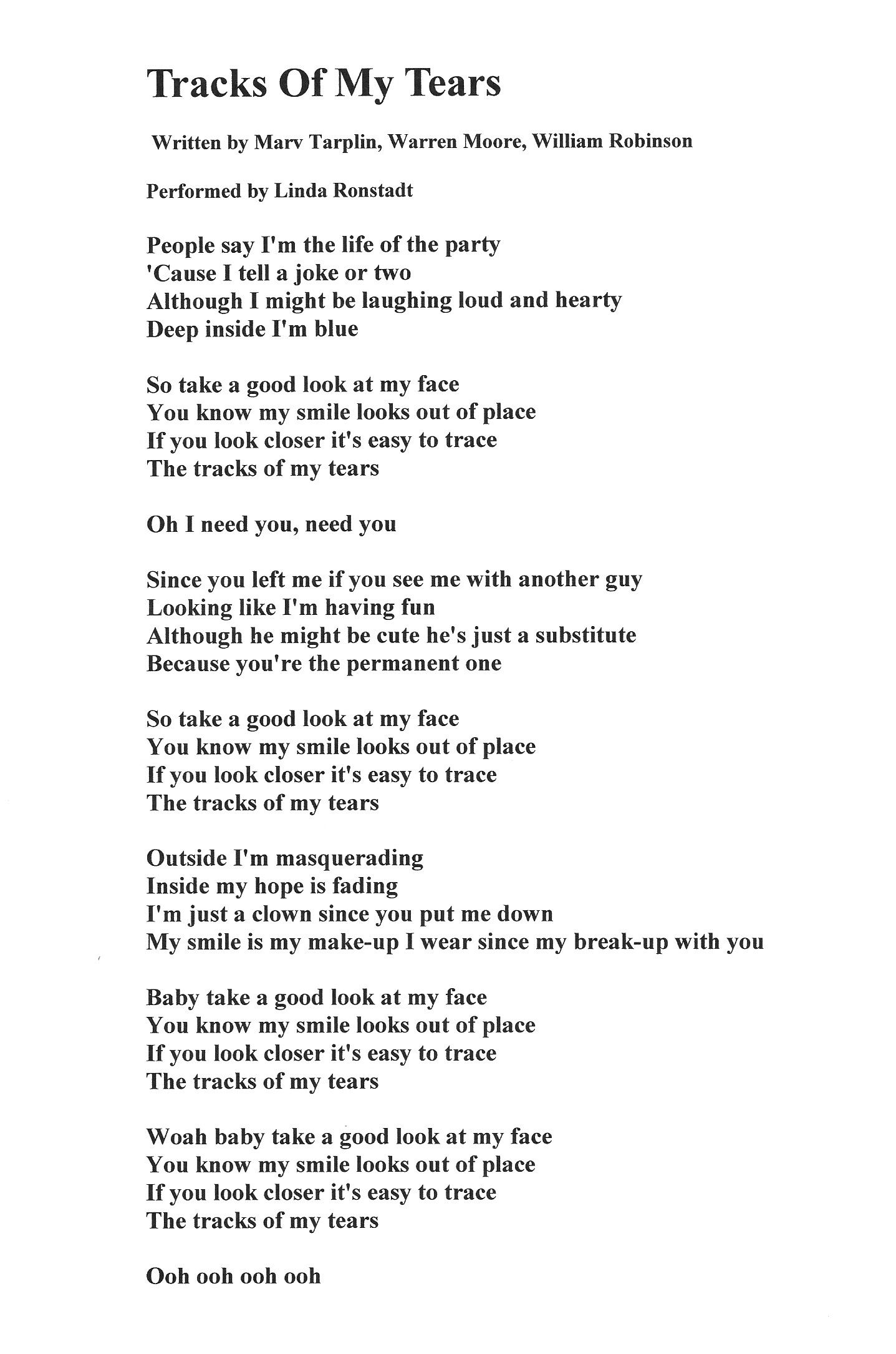 Lyrics For Tracks Of My Tears Written By Marv Tarplin Warren