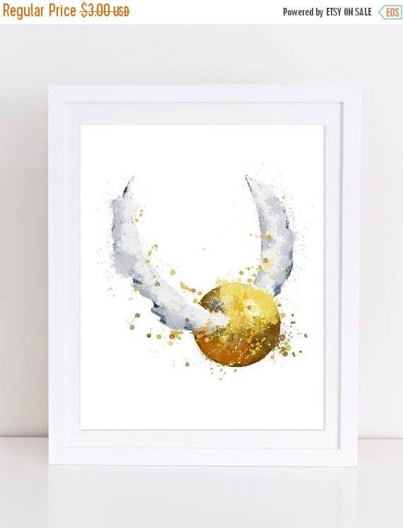70 Off Harry Potter Watercolor Poster Golden Snitch Poster Watercolor Golden Snitch Quid Harry Potter Watercolor Harry Potter Wall Decor Harry Potter Painting