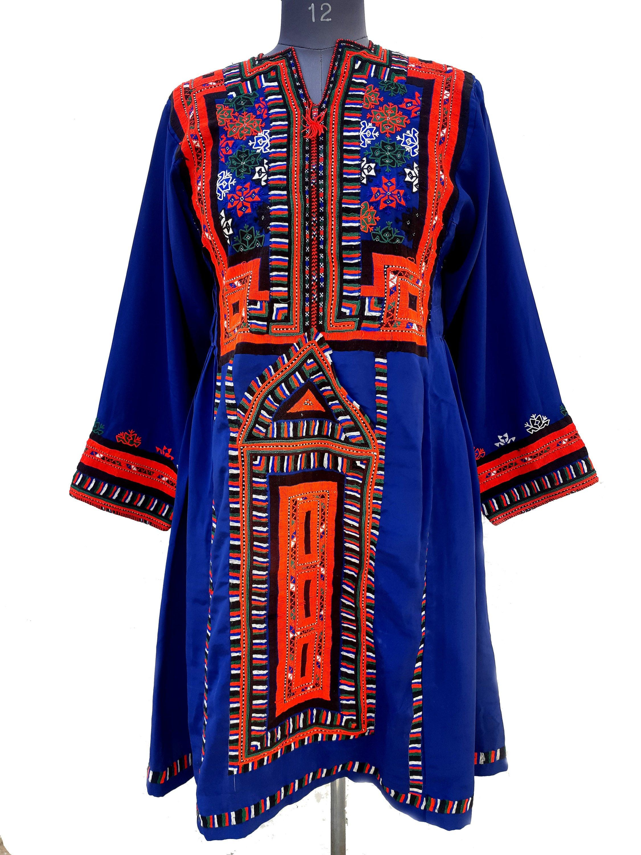 Handmade Baluchi Dress Indian Mirror Work Kurta Top Banjara Dress Vintage Baloch Afghan Dress Hand Embroidered Ethnic Dress