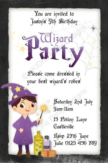 personalised invitation witch wizard party digital