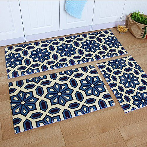 Ustide 3 Piece Bohemia Washable Bathroom Rug Kitchen Set Memory Foam Soft