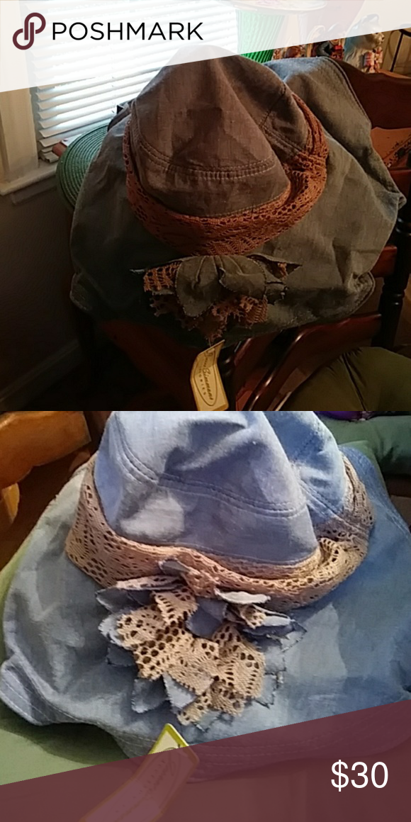 Jeanne Simmons sun hat Denim with tan bow. Cute to wear island hopping on a  cruise. Nwt. No smoking must free home. jeanne simmons Accessories Hats e9183477ced