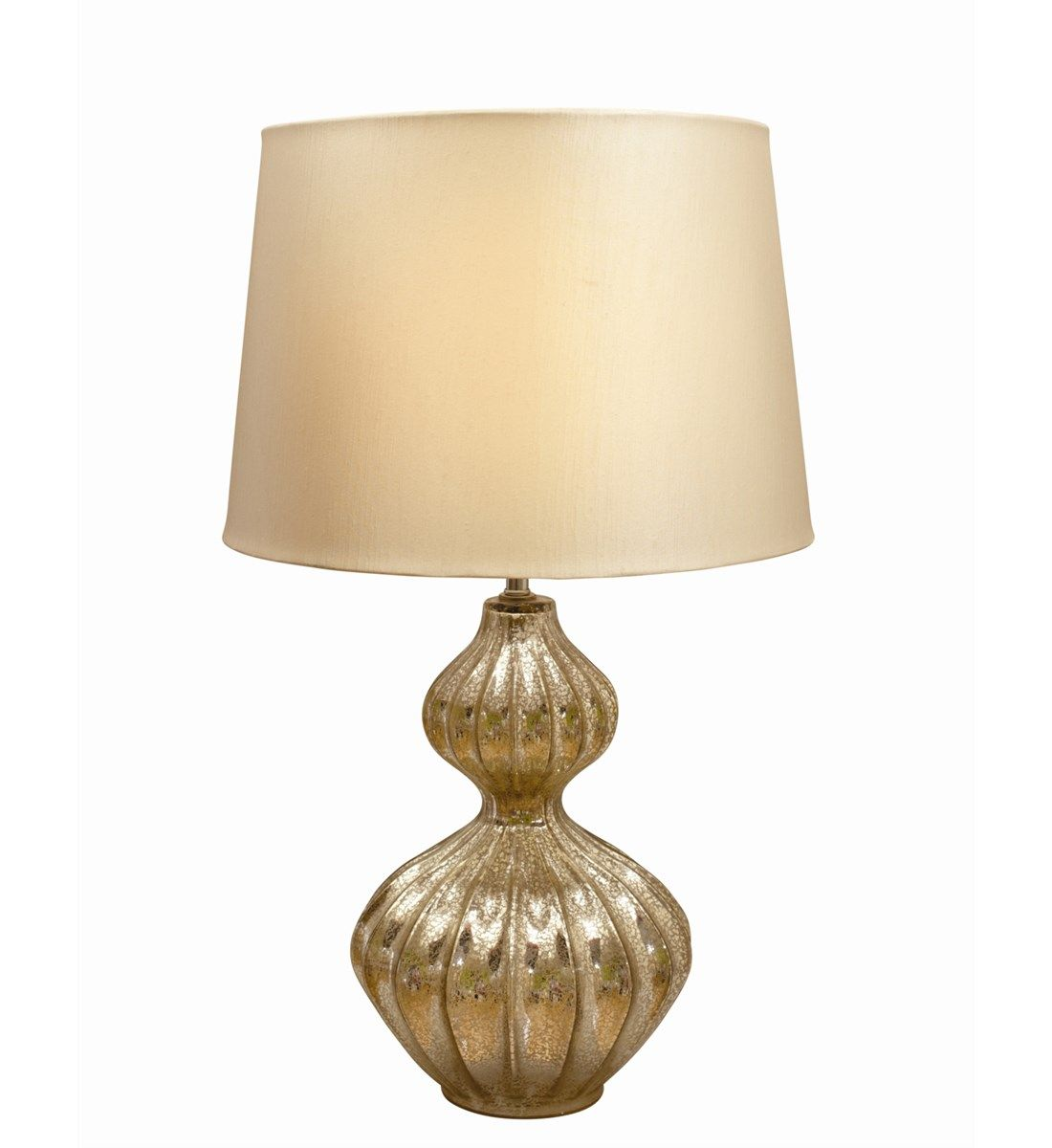 72a2dc9dd392 Treviso Pale Gold Table Lamp Mottled effect glass table lamp base with a  slubbed faux silk lampshade.