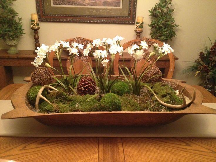 Dough Bowl Decorating Ideas Dough Bowl Centerpiece With Flowering Plants And Moss Balls Has
