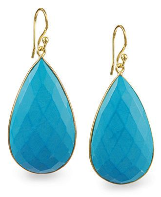 35d40ead9 14k Gold over Sterling Silver Earrings, Reconstituted Turquoise Teardrop  Earrings (43-1/5 ct. t.w.) - SALE & CLEARANCE - Jewelry & Watches -.