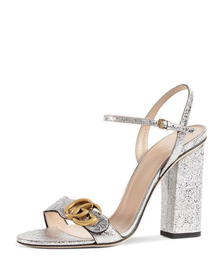 df5dd0b90 GUCCI Marmont Metallic Leather Sandal, Gray. #gucci #shoes # | Gucci ...
