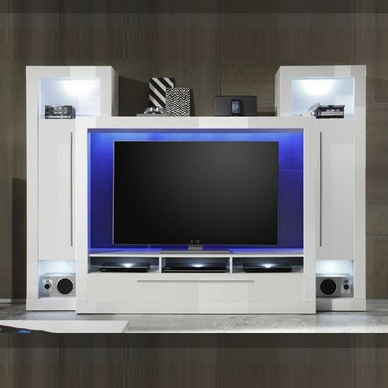 Medox lcd tv stand in high gloss white with 2 storage for Lcd unit designs living room