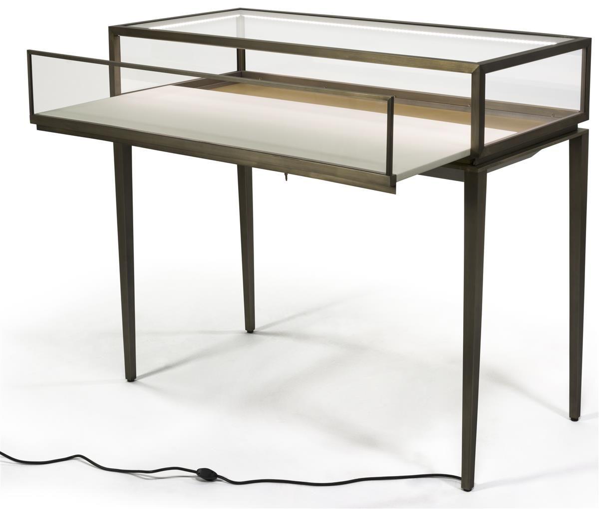 Brushed Steel Jewelry Display Case W/ Rear Slide Open Drawer, LED Lights    Bronze
