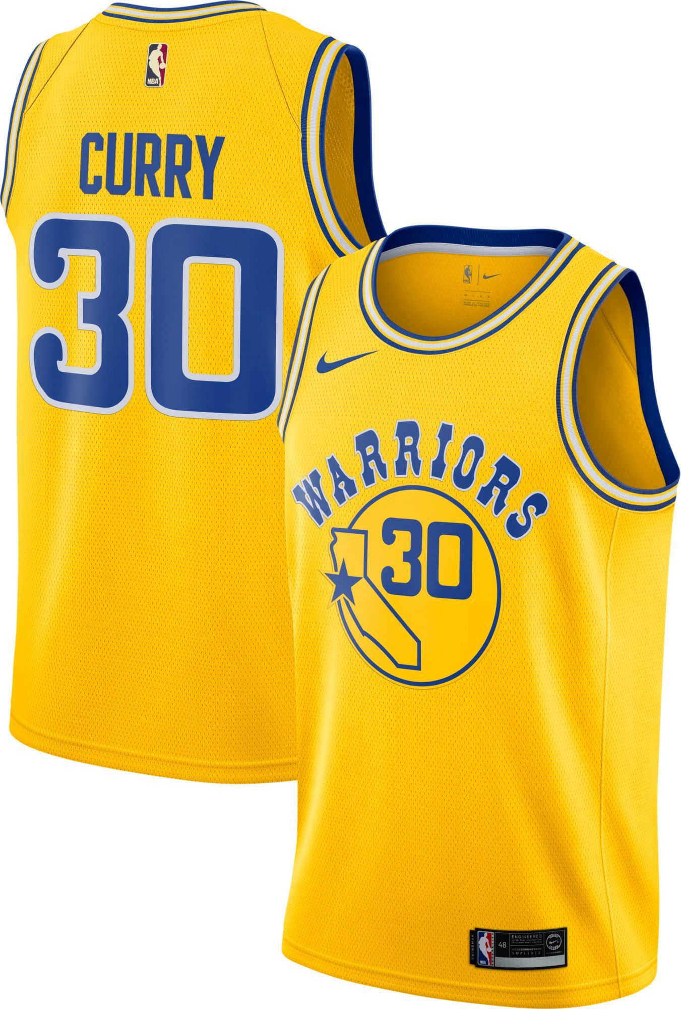 e908af3167b Nike Men's Golden State Warriors Stephen Curry Dri-FIT Hardwood Classic  Swingman Jersey, Yellow