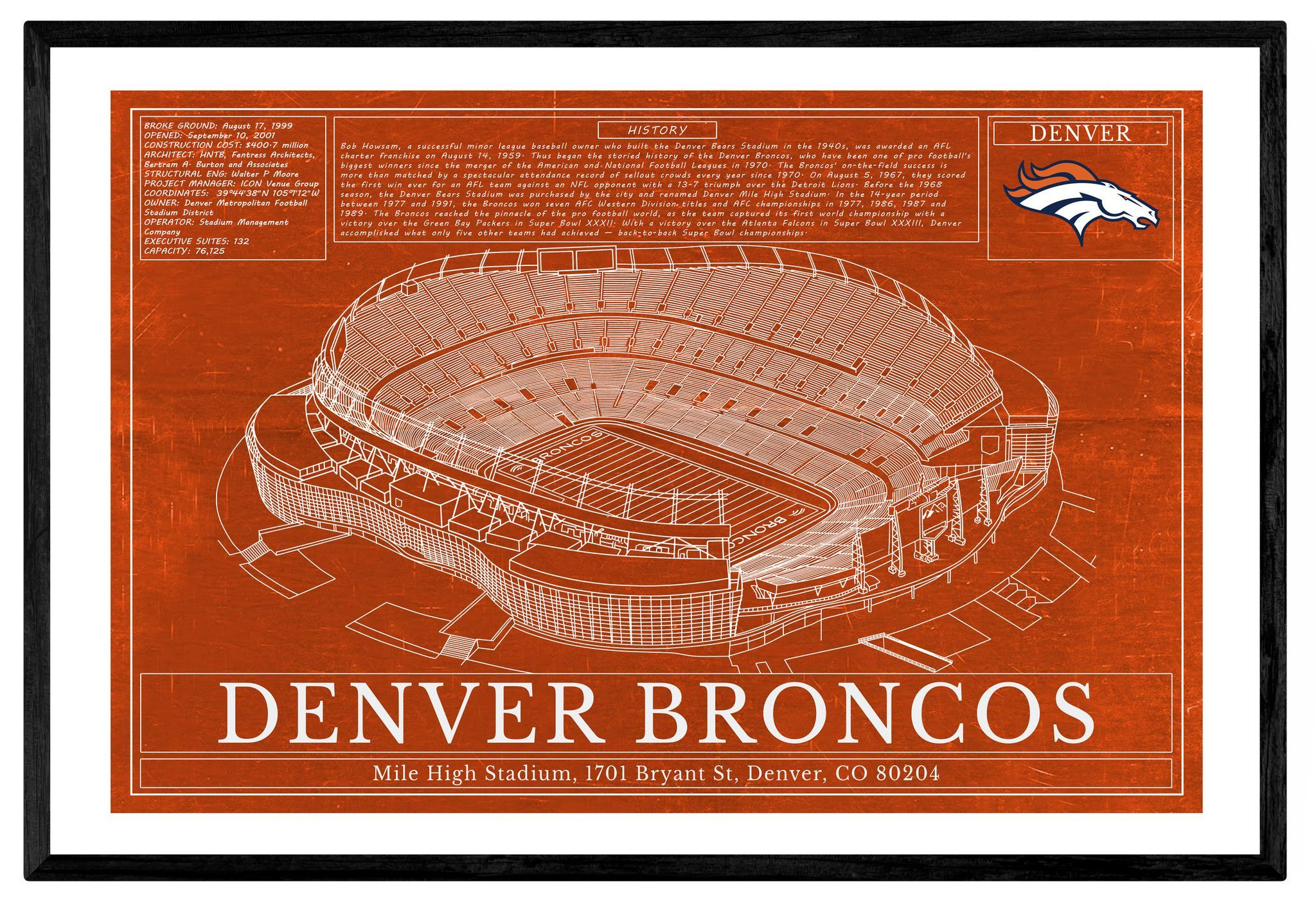 Unique nfl football stadium blueprints art denver broncos sports blugifts bronco sportsblueprint artsports malvernweather Choice Image