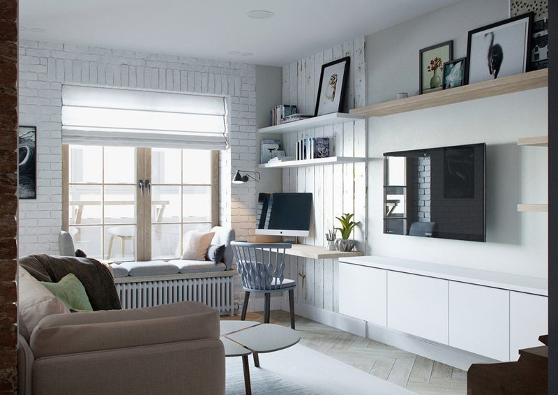 mini appartamento in azzurro, bianco e legno Salotti