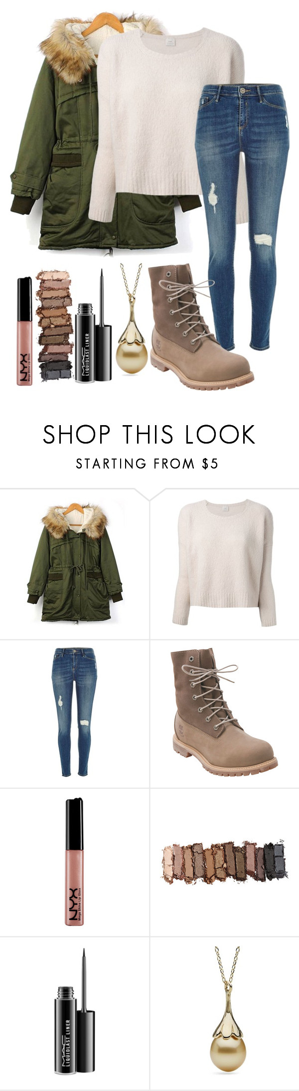 """Baby It's Cold Outside"" by jnoelleh ❤ liked on Polyvore featuring Pinko, River Island, Timberland, Urban Decay and MAC Cosmetics"